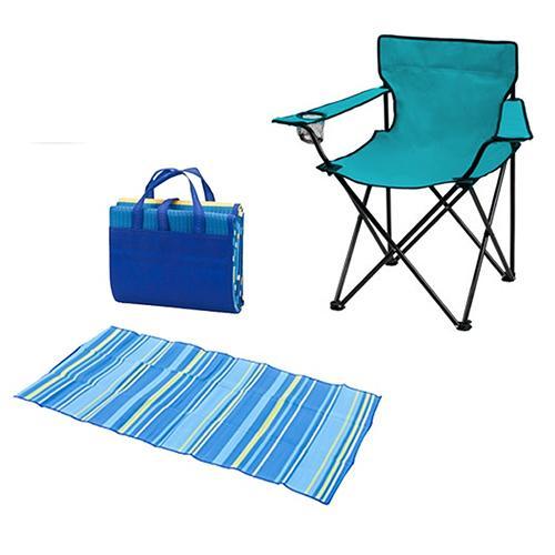 סט שטח הכולל כסא במאי מתקפל ומחצלת אישית