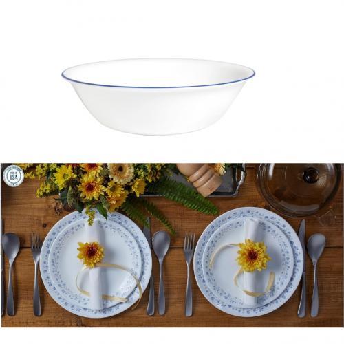מארז כלי אוכל של סט צלחות 12 חלקים ל-3 סועדים וקערת סלט 2 ליטר פס צבעוני CORELLE