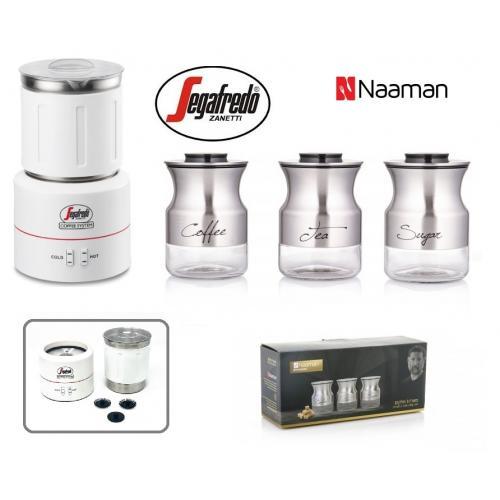 מקציף חלב מקצועי SEGAFRDO וסט שלישייה מהודר לקפה, תה וחלב סדרת אסף גרניט NAMMAN
