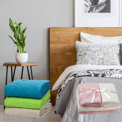מארז שינה מפנק הכולל שמיכת מעבר זוגית , זוג כריות ומגבות – כיתן