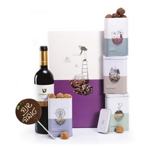 מארז ענק של טראפלס, יין, ושוקולד על מקל שנה טובה