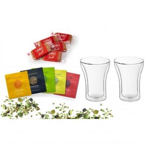 זוג כוסות דופן כפולה שקיות תה ועוגיות לוטוס