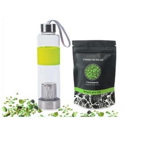 בקבוק לחליטות צמחים ושקיות תערובת תה בתפזורת