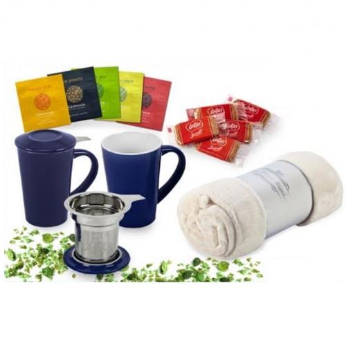 כוס חליטה מפורצלן עם כרבולית יחיד שקיות תה ועוגיות לוטוס