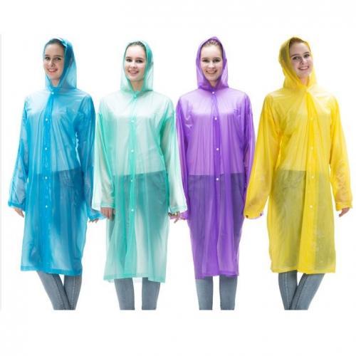 מעיל גשם ארוך שקוף מניילון - לנשים