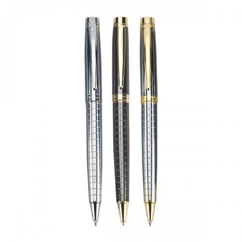 """עט כדורי WAVE. גוף מתכת, גימור זהב, מנגנון סיבוב. מילוי דמוי פרקר. 1.0 מ""""מ."""