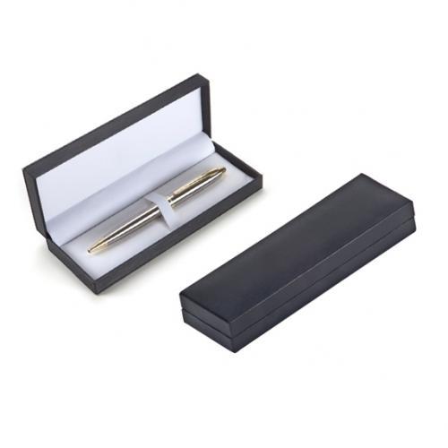 קופסא מהודרת בהירה מפלסטיק עם פס מתכת, מתאימה לעט בודד או זוג עטים