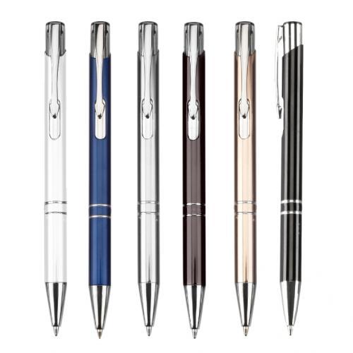 """עט כדורי 1.0 מ""""מ גוף מתכת צבעוני"""
