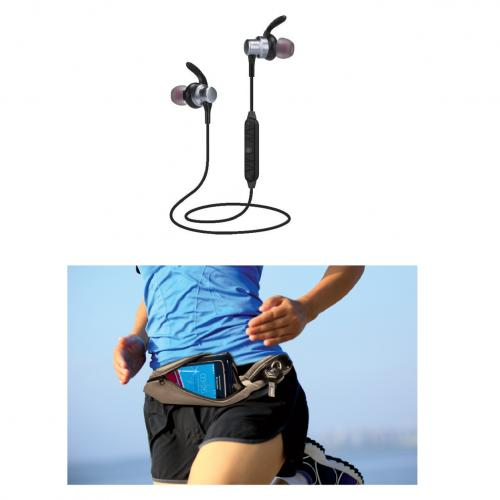 מארז ספורט קומפקטי אוזניות וחגורת ספורט
