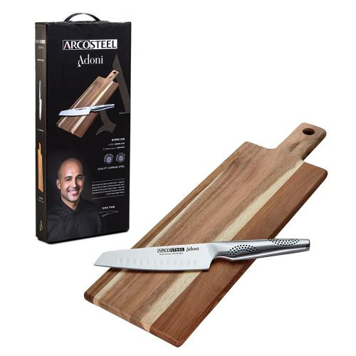 "סט שף ארקוסטיל אדוני – סכין סנטוקו 15 ס""מ + לוח חיתוך מעץ שיטה Arcosteel"
