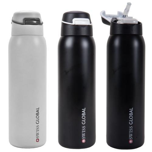 בקבוק שתייה שומר חום קור עם פיית סיליקון Swiss