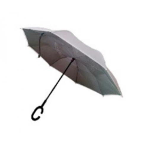 """מטרייה מתהפכת 23"""" איכותית עם בד לבן בחוץ וכסוף בפנים"""