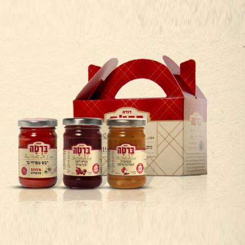 מארז לחג דבש ממרח רימון וקונפיטורה תפוח עץ וקינמון