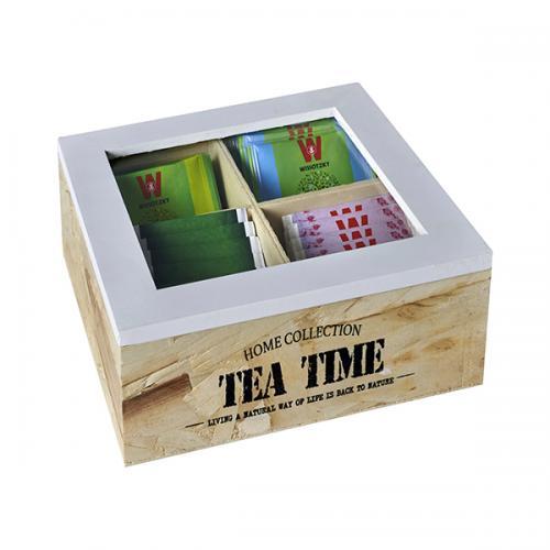 קופסת עץ לתה TEA TIME עם 4 תאים