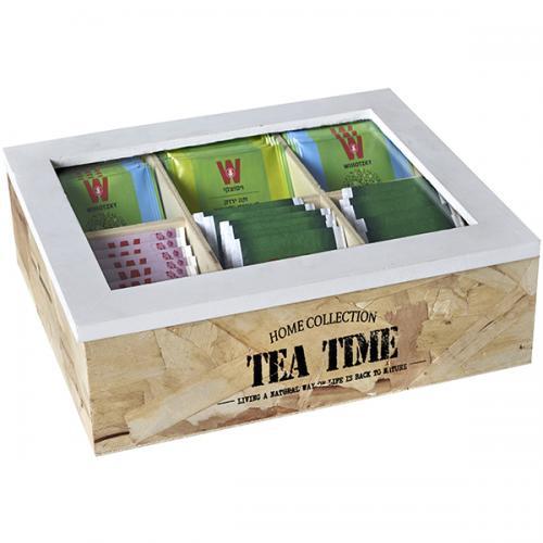 קופסת עץ לתה TEA TIME עם 6 תאים