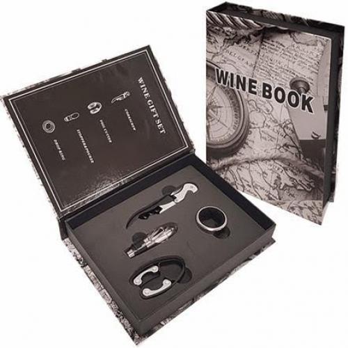 """""""WINE BOOK"""" מארז אביזרים 4 חלקים ליין"""