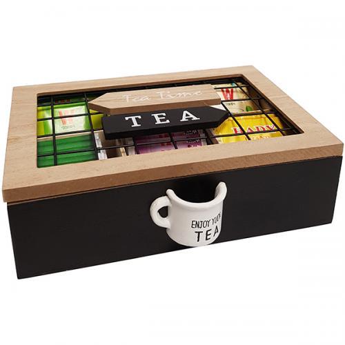 קופסת עץ מעוצבת לתה