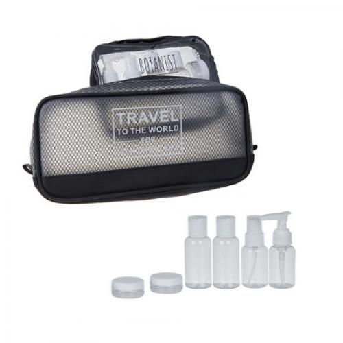 ערכת בקבוקי אחסון לנסיעות משולב עם תיק כלי רחצה