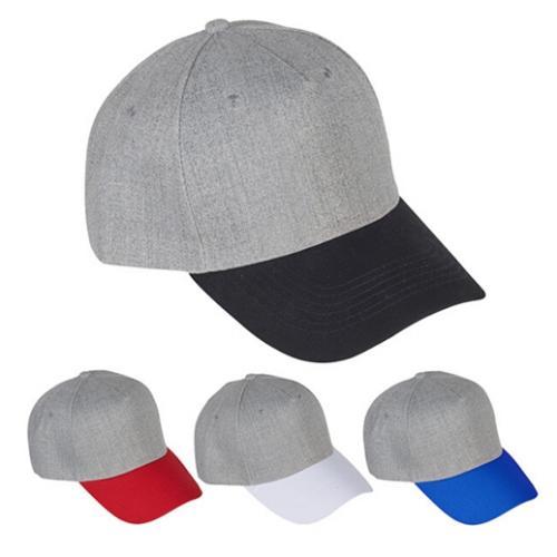 כובע מצחיה בצבע כותנה אפור מוברש 5 פאנל