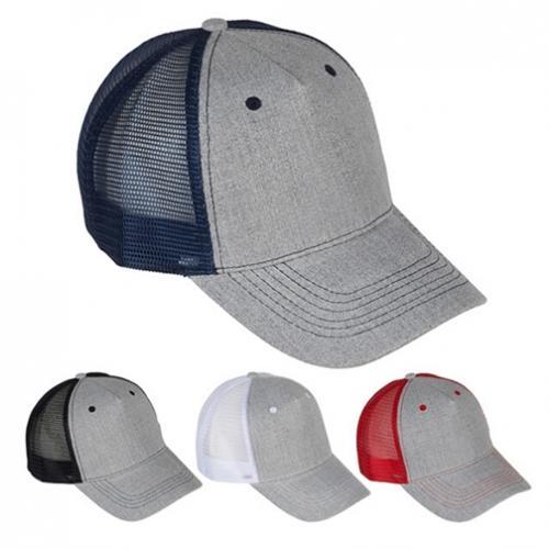 כובע מצחיה רשת כותנה אפור מוברש 5 פאנל