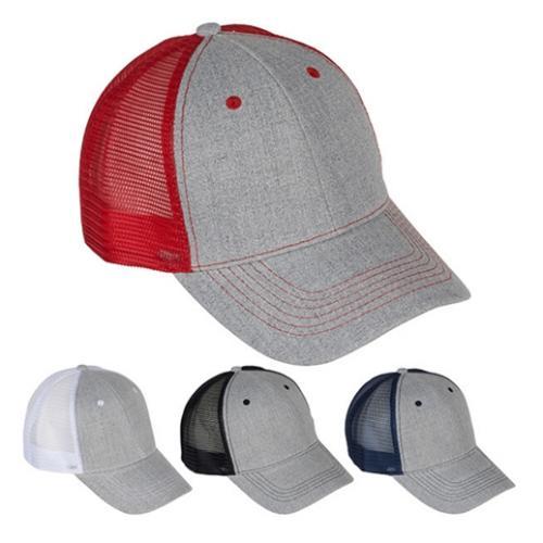 כובע מצחיה רשת כותנה אפור מוברש 6 פאנל