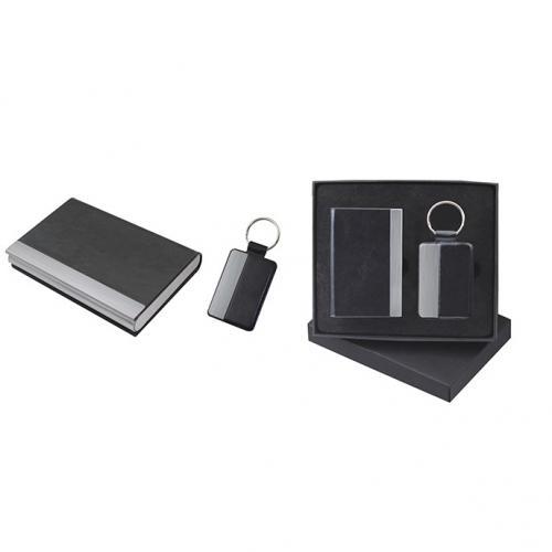 BUSINESS 3סט מחזיק מפתחות וכ.ביקור עור/מתכת במארז יוקרתי