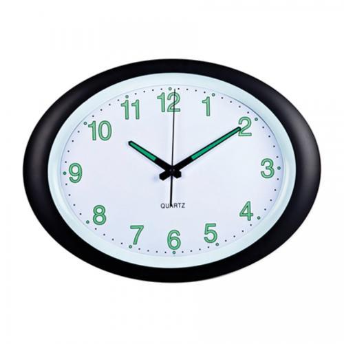 """שעון קיר אובאלי 40 ס""""מ שחור"""