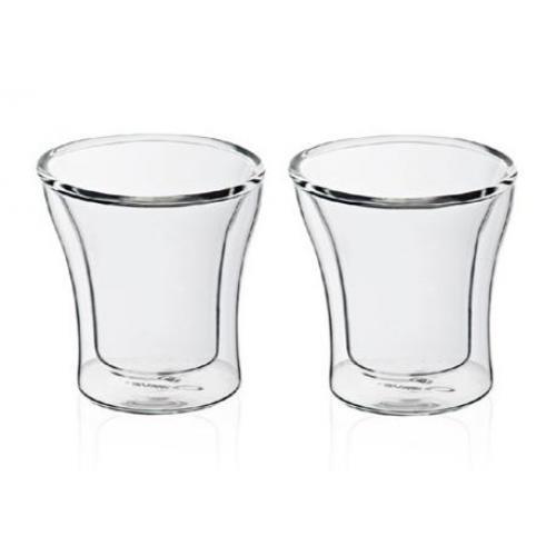 זוג כוסות זכוכית עם דופן כפולה