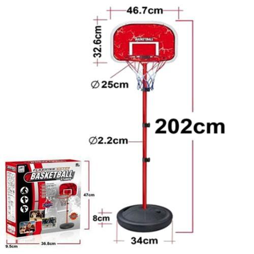 מתקן כדורסל על מעמד מוט מתכוונן עד לגובה 2 מטר