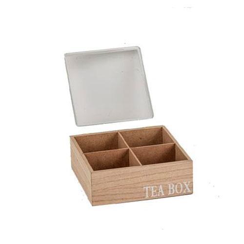 קופסת תה 4 תאים עם מכסה לבן