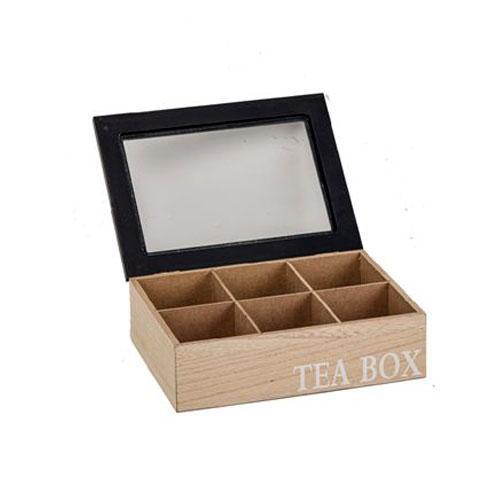 קופסת תה 6 תאים עם מכסה שחור