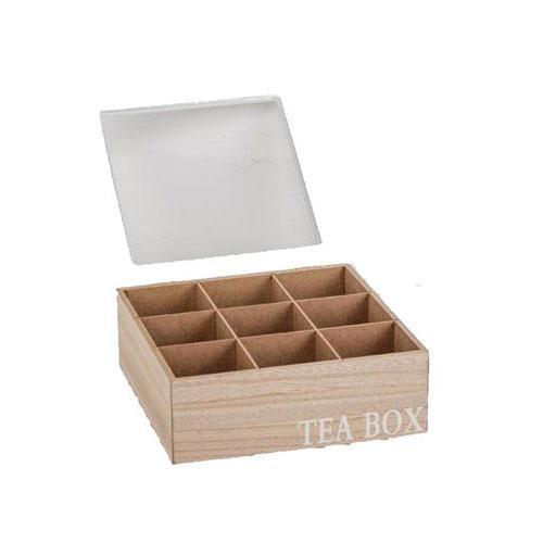 קופסת תה 9 תאים עם מכסה לבן