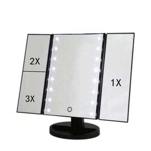 מראה מקצועית  עם תאורת LED משולבת במראות נוספות עם הגדלות שונות