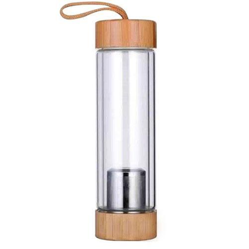 בקבוק משולב עץ במבוק וזכוכית בעלת דופן כפולה