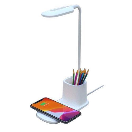 משטח טעינה אלחוטי 10W משולב עם מנורת LED וכוס עטים