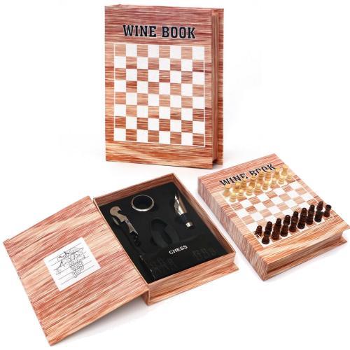 סט אביזרי יין בצורת ספר שח מט