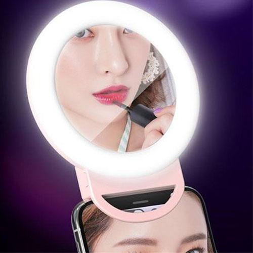 טבעת תאורה לנייד  משולבת מראה