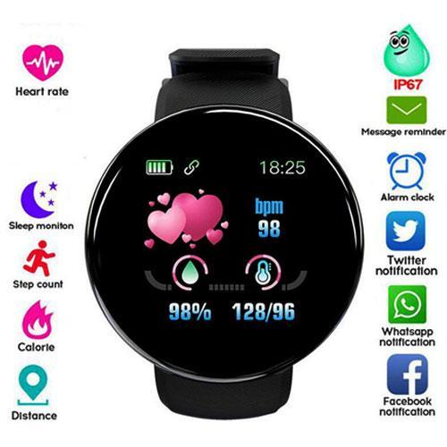 שעון יד חכם שחור עיצוב עגול