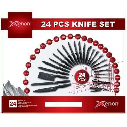 סט סכינים 24 חלקים בציפוי דמוי שיש שחור
