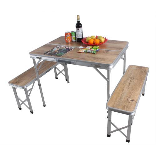 שולחן פיקניק מתקפל עם ספסלים  - בגימור מהודר