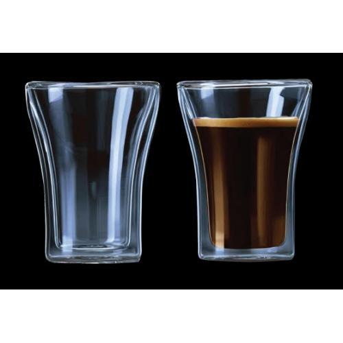 זוג כוסות זכוכית עם דופן כפולה.