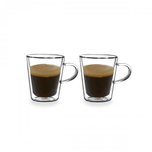 זוג כוסות עם דופן כפולה וידית