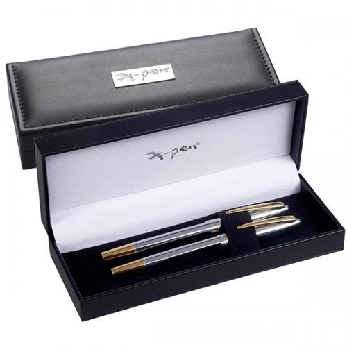 קופסאת X-Pen מהודרת שחורה לעט דמוי עור עם לוחית XP-1008 X-pen