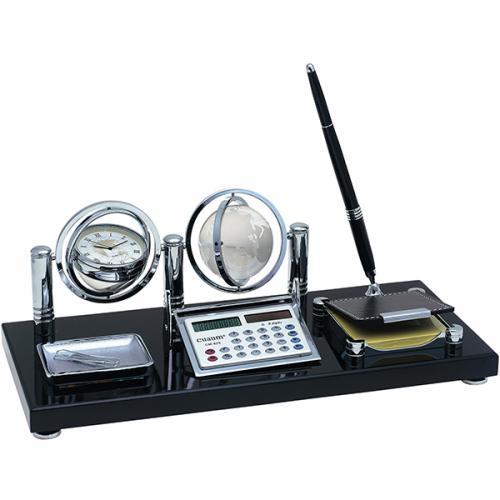 מעמד שולחני יוקרתי גלובוס שעון משולב