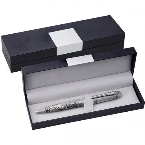 קופסא שחורה מהודרת לעט   עם לוחית אלומניום