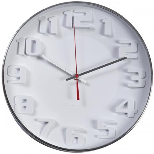 """שעון קיר """"ציריך"""" לבן עם ספרות תלת מימד , מסגרת כרום"""