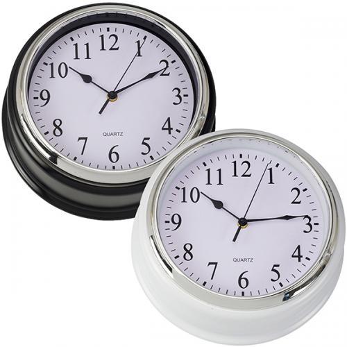 """שעון קיר """"לונדון"""" עם ספרות , מסגרת כרום/שחור"""