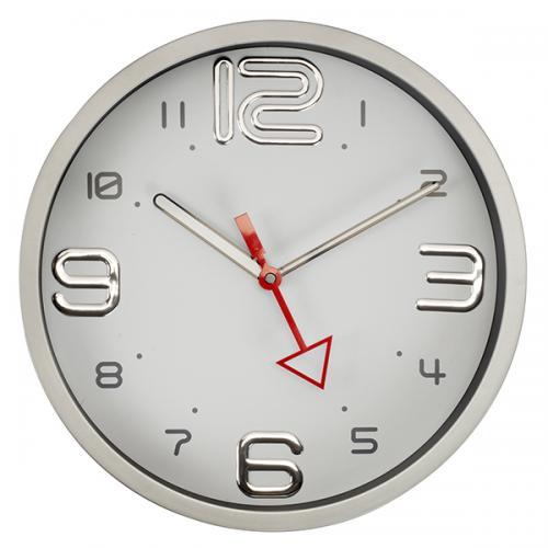 """שעון קיר """"רומא"""" לבן עם מחוג אדום, מסגרת כרום"""