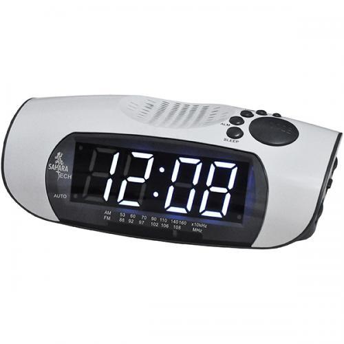 רדיו שעון לבן/אפור 220V ספרות לבנות