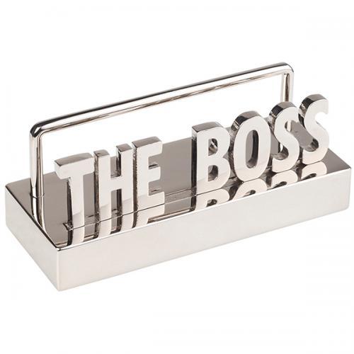 """מעמד כרטיסי ביקור מתכת מבריק THE BOSS """"הבוס"""""""